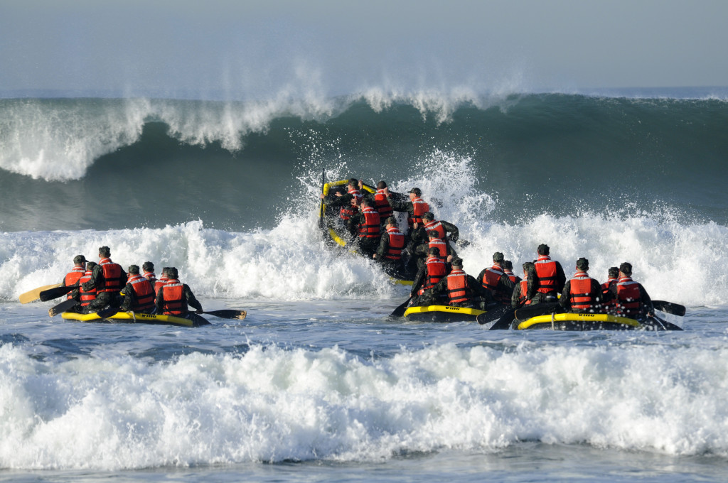 Demolition/SEAL (BUDs) students participate in Surf Passage at Naval Amphibious Base Coronado.