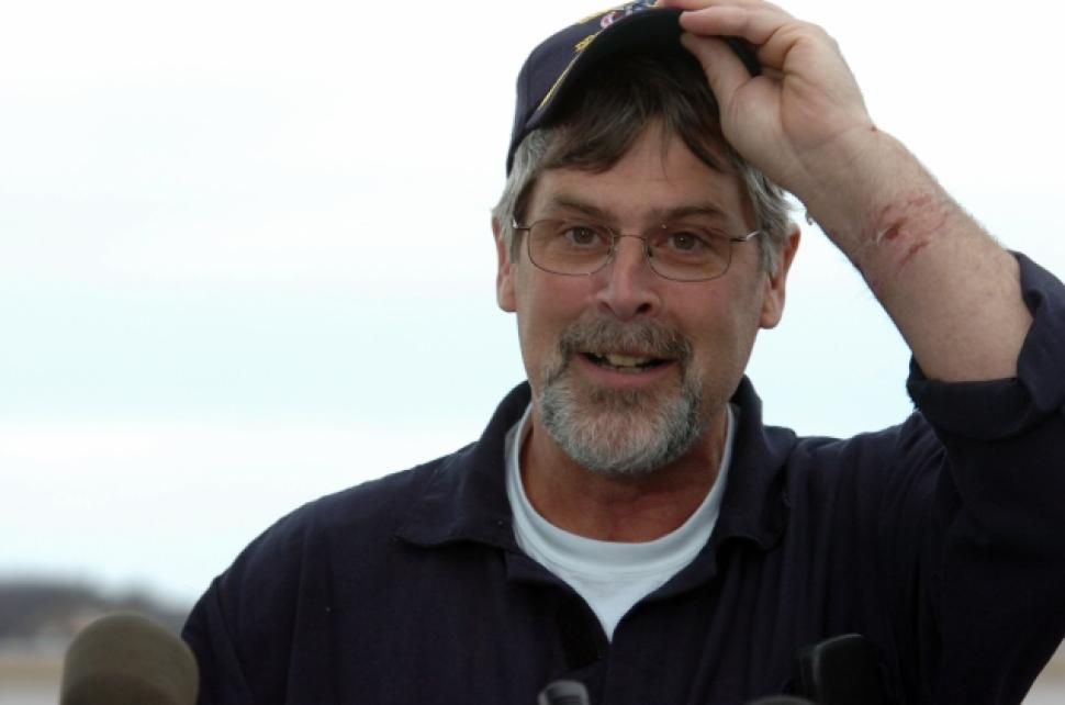 Captain Phillips a happy man to be rescued.