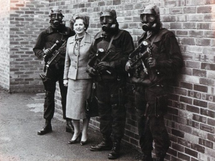 Prime Minister Margaret Thatcher Standing SAS Troopers